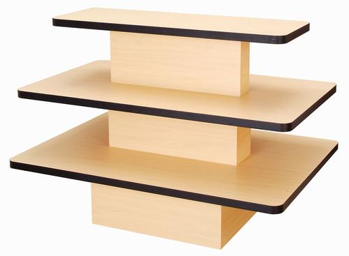 3 tier rectangular maple display table with black edge for Html display table
