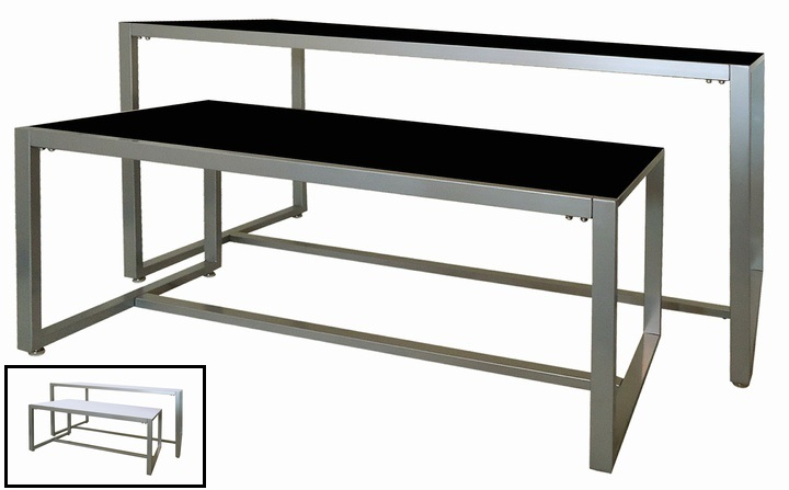 Metal frame nesting display table set retail store tables for Html display table