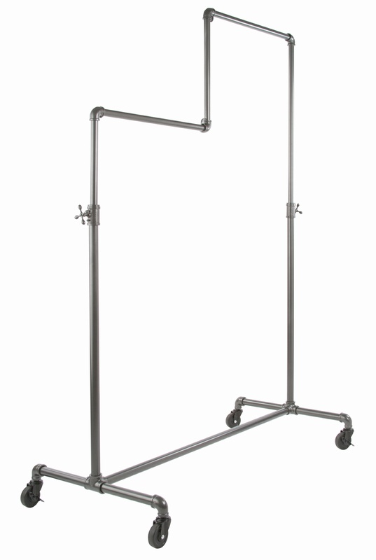 Adjustable Height 2 Tier Pipe Frame Rolling Rack
