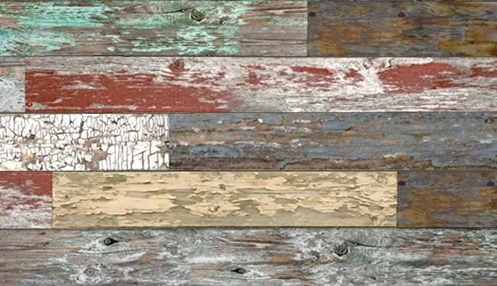 Mixed Old Painted Wood Plank Textured Slatwall Panels