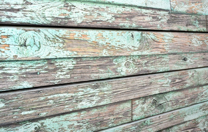Green Old Painted Wood Textured Slatwall