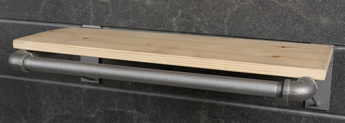 Natural Pine Slatwall Pipe Shelf